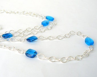 Long Teal and Silver Necklace, Aqua Bead Necklace, Capri Blue Glass Bead and Chain Necklace, Long Statement Necklace
