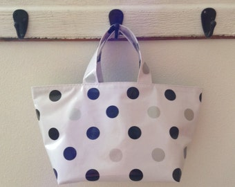 Beth's Black and Silver Dot Oilcloth  Basket Tote Bag