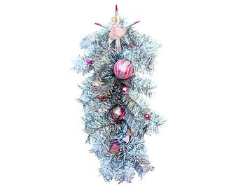 SALE Silver Tinsel Pink Angel Swag Christmas Holiday Garland door wreath