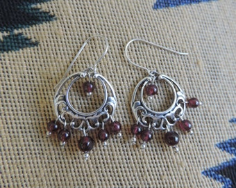 Garnets and Sterling Silver Earrings