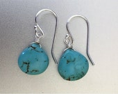 Turquoise Earrings , SPECIAL OFFER, Sterling, Rose Gold or Gold, Turquoise Drop Earrings, Everyday Earrings, Gemstone Earrings,