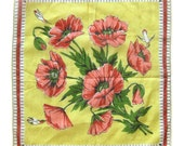 Vintage HANKY - Floral Handkerchiefs with Humming Birds and Dragon Flies / Yellow and Red Hankies