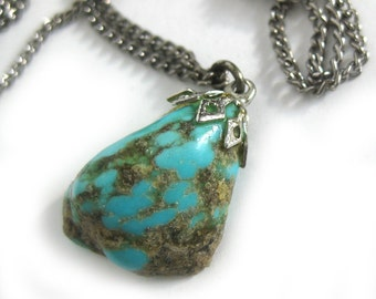 Vintage Turquoise Nugget Necklace Pendant on Silver Chain / Boho Seventies Natural Turquoise Jewelry