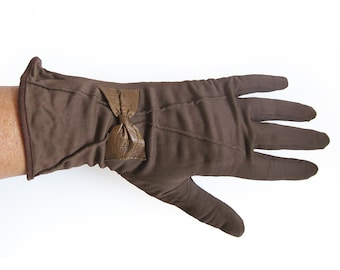 Vintage Gloves in Brown - Leather Bow Detail Detail Driving Gloves Evening Gloves / Size 6.5