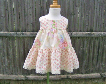 Baby girl summer dress, size 12 Mo, ready to ship, coral roses, ivory dress, twirly tiered dress, party dress, sleeveless, pastel flowers