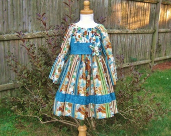 Girls peasant dress, long sleeves, size 4/4T, brown, teal, flowers, butterflies, fall colors, ready to ship, size 4, OOAK, turquoise, autumn
