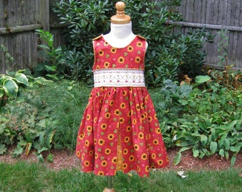 Toddler girl, smocked dress, red dress, sundress, handmade, OOAK, sunflowers, ladybugs, red jumper, size 3T, ready to ship, party dress