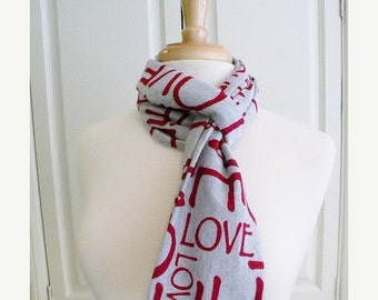 SALE Valentines Day Heather Gray Red LOVE Infinity Circle Scarf-Double Loop Scarf- Cotton Jersey Knit