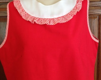 Vintage 50's Red Sleeveless Shift Dress, 40