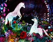 Horses, horse art, magical print, animal art, enchanted art, blue art, magical horse, horse paining.
