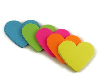 Two Inch Die Cut Paper Hearts  in  South Beach