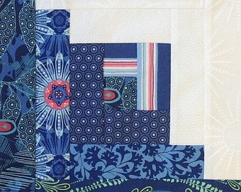 12 Log Cabin Block PRE-CUT Quilt Kit Splash - Blue
