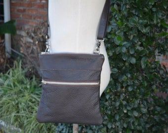 Brown Bison Leather Bag with Adjustable Strap Made to Order