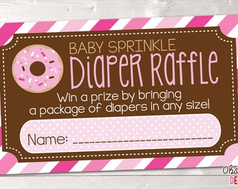 Girls Baby Sprinkle Diaper Raffle Ticket Instant Download Printable PDF