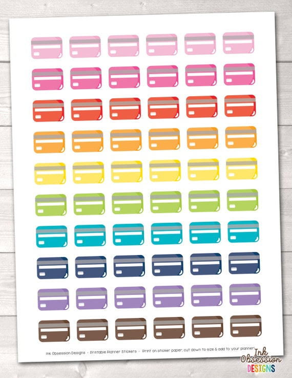 credit card printable planner stickers instant download printable