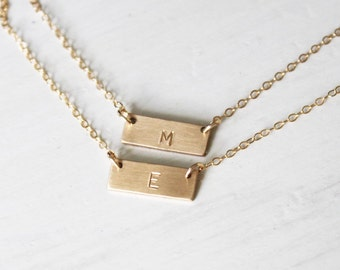 Layered Necklace Set of 2, Initial Necklace, Personalized Necklace, Silver, Rose or Gold Necklace, Gold Bar Necklace, Personalized Jewelry