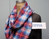 Secret Agent Scarf Infinity Design with Zipper Pocket Paid Flannel Red White Blue