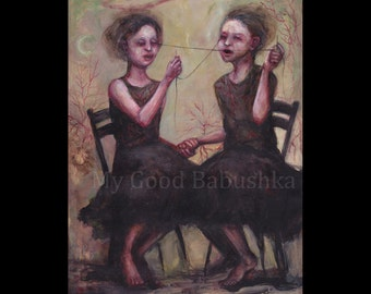 We Sewed Our Eyes Shut and Saw Such Wonderful Things, Original Painting, Illustration, Surreal, Dream, Hallucination, Dark Art, Eyes, Twins