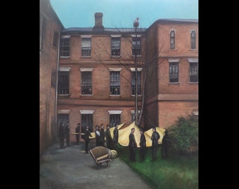At the Hospital, Original Painting, Asylum, 19th Century Themed, Psychiatric Hospital, Rescue, History, England, London, Medicine, Macabre