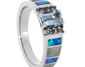 Aquamarine Engagement Ring With White Sapphires, Palladium Ring With Meteorite And Opal Inlays, Cathedral Engagement Ring