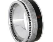 Black Diamond Wedding Band, Eternity Ring With Meteorite And Dinosaur Bone Inlays, Platinum Wedding Band