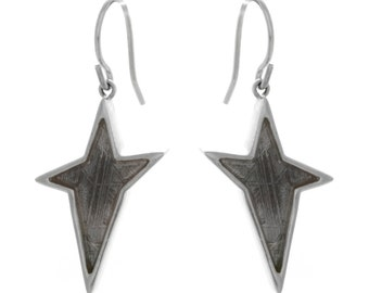 Sterling Silver Star Earrings With Muonionalusta Meteorite, Sterling Silver Jewelry, Meteorite Earrings For Her