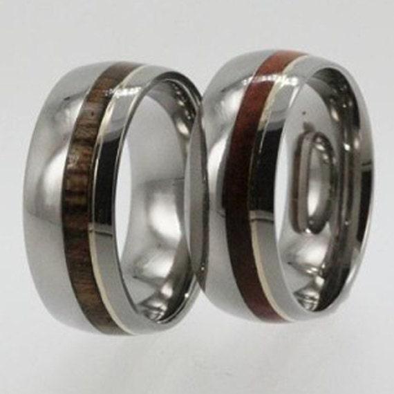 Wedding Ring Set - Titanium ring with 14K Gold pinstripe with Bocote wood AND Titanium ring with 14K Gold pinstripe with Amboyna wood