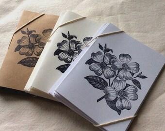 6 Dogwood Card Set, Dogwood Note Cards, floral card set, thank you cards, flower card set