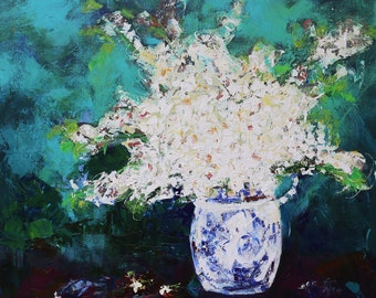 """FLORAL CONTEMPORARY Abstract Original FRAMED Painting """"Prunus"""" Acrylic on 30"""" x 30"""" gallery wrap canvas by Elizabeth Chapman"""
