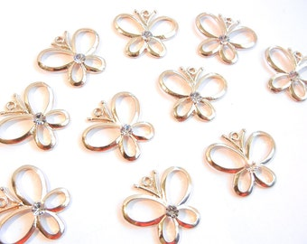 10 or 5 Pairs of Gold-tone Outline Butterfly Charms with Center Rhinestone