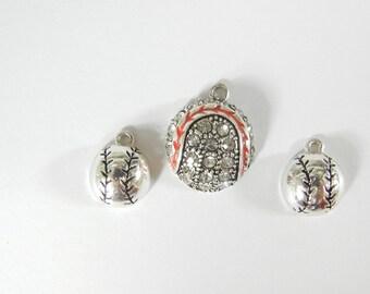 Set of Silver-tone Small Baseball Charms and Pendant