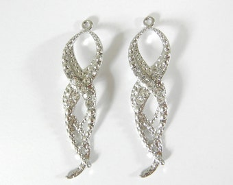 Pair of Curvy Silver-tone Textured Drop Charms Rhinestones