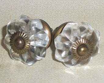 Cottage Chic Clear Glass Flower Metal Base Drawer Knob Pulls Set of 2