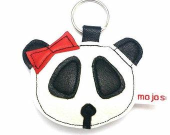 Handmade recycled leather girl panda keychain keyring adornment gift. FREE SHIPPING UK