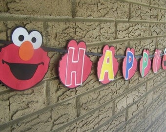 Elmo Happy Birthday banner 8 feet long Elmo's World Font