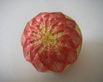 Mini hand made Temari(pink, yellow)