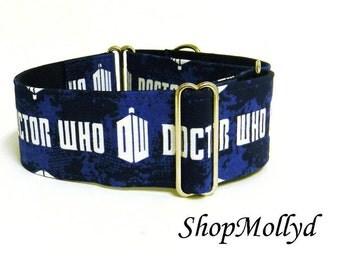 Dr. Who Martingale Dog Collar for greyhound, galgo, sighthound,wolfhound. large dog