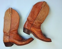 Vintage JUSTIN Boots • Classic Distressed Cowboy Light Brown Leather Tan Western Cowgirl 1970s 1980s Boots • Size 7.5 D Men Fits 8.5 9 Women