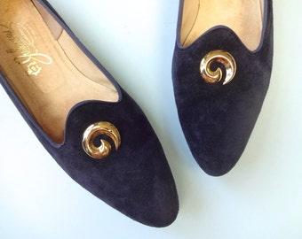 Vintage JOHANSEN Flats • 1960s Shoes • Navy Blue Suede Leather Skimmers Tuxedo Loafer Bock Heel Made in USA • Size 10.5 Women Narrow Width