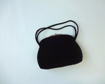 Vintage BLOCK Purse • 1950s Handbag •Classic Mid Century Black Velvet Structured Top Handle Bag • Formal Going Out Classic Basic Handbag