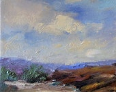 Purple Mountains- Painting 8 x 8 Original Oil on stretched Canvas- - Atmospheric Sky- Lighted Clouds