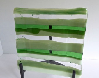 Square Fused Glass Plate in Stripes of Green
