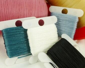 Fine 0.32mm Beader's Secret Silk Like Knotting Thread Lightweight #40 Beading Stringing Sewing 20 yards Polyester, Card Bobbin, Thin Cord