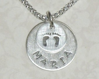 Personalized Baby Name and Foot Prints Hand Stamped Sterling Silver Charm Necklace - Mom Necklace - Mothers Necklace