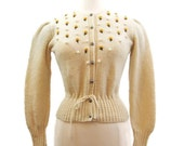 Vintage 80s Austrian Embroidered Floral Cream Knitted Wool Folk Cardigan