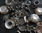 80 pc silver colored vintage old new stock findings for jewelry making craft supplies - destash lot
