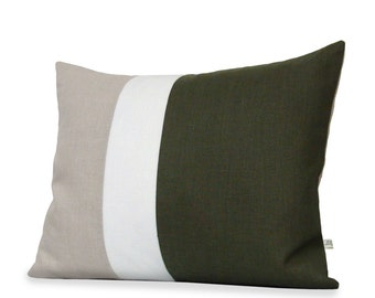 """16"""" x 20"""" Olive Linen Colorblock Pillow Cover - Modern Rustic Home Decor - Fall Color Trends - Olive Green Pillow by Jillian Rene Decor"""