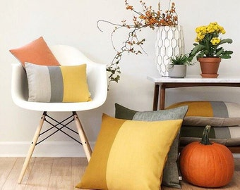 Decorative Pillows - Squash Yellow - Fall Colorblock Pillow Covers by JillianReneDecor - Modern Home Decor - Autumn Harvest - FW2015, Ochre