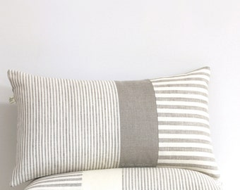 Minimal Striped Linen Lumber Pillow Cover, Neutral Spring Home Decor by JillianReneDecor Natural and Ivory, Colorblock Pillow, Scandi, MS01
