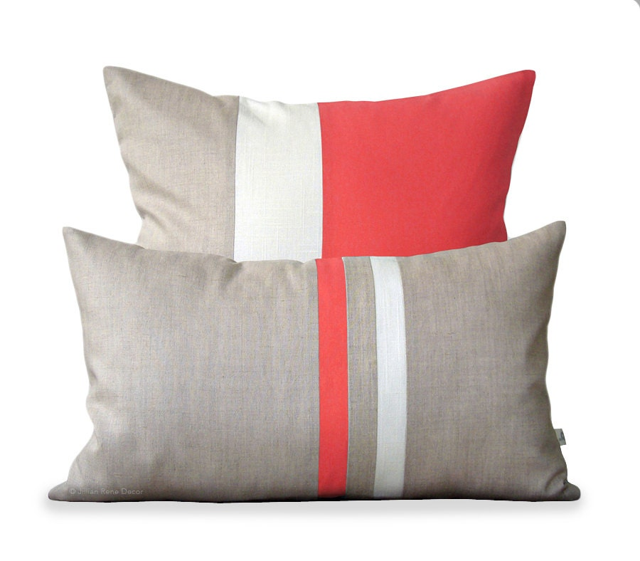 Coral Pillow Cover Set 12x20 Stripe And 20x20 Color